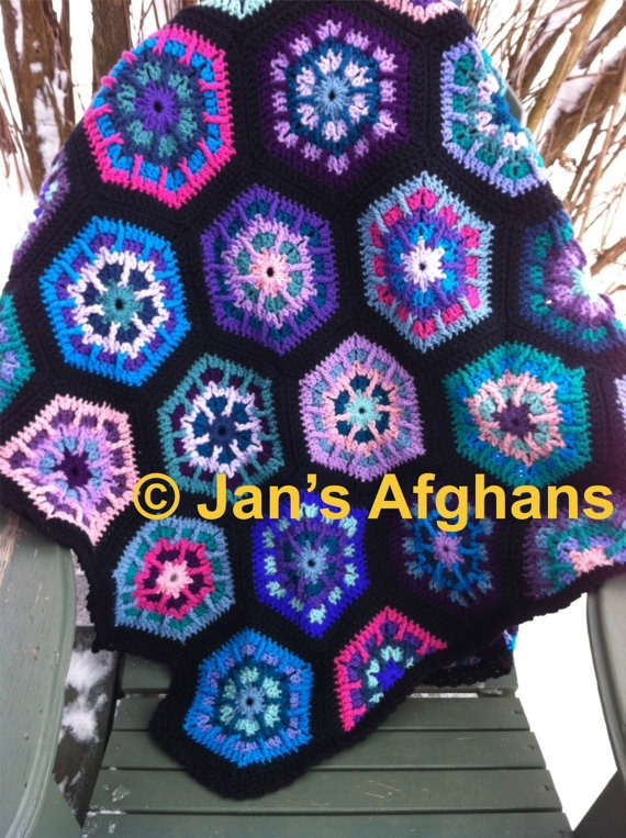 Kaleidoscope crocheted afghan hexagon granny squares MADE ...