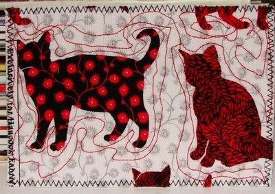 Cats fabric postcard