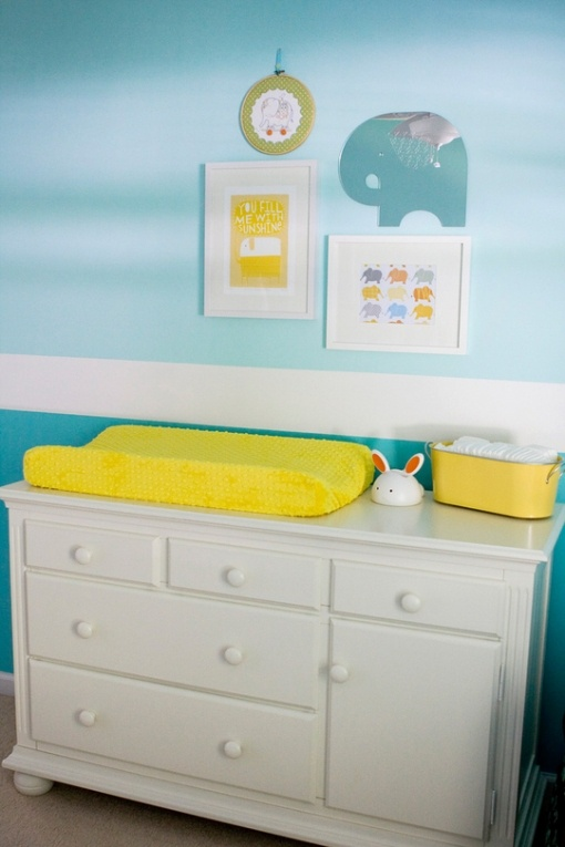 Elephant nursery room : Blue & yellow elephant theme  my baby room pinterest