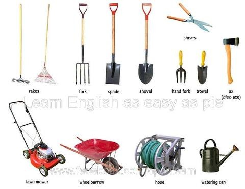 Gardening tools esl pinterest for Common garden hand tools