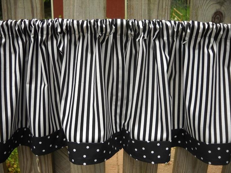 Valance Curtains Black And White Stripe And Polka Dot