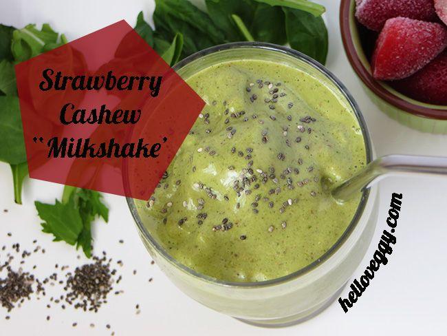 Strawberry Cashew Milkshake Vegan | Smoothies | Pinterest