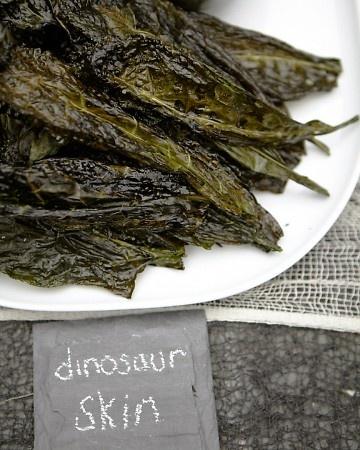 Kale Crisps with Sea Salt and Lemon. Perfect if I do a dinosaur party ...