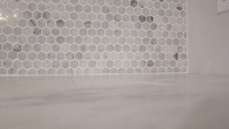 honeycomb backsplash kitchen makeover pinterest