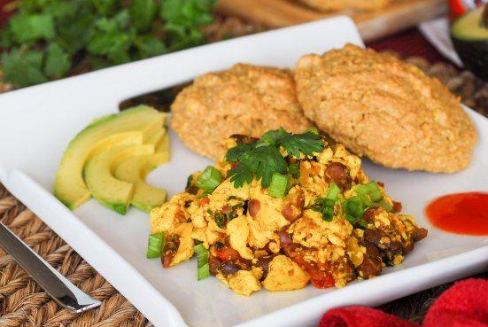 Vegan Southwestern Tofu Scramble with Cornmeal Drop Biscuits