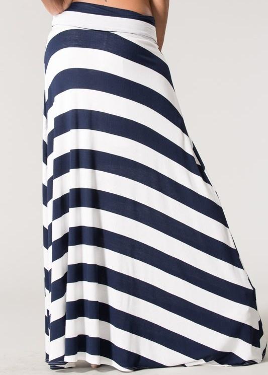 navy and white nautical striped maxi skirt