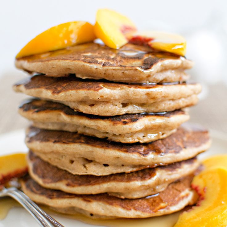 Whole-Wheat Buttermilk Pancakes with Peaches