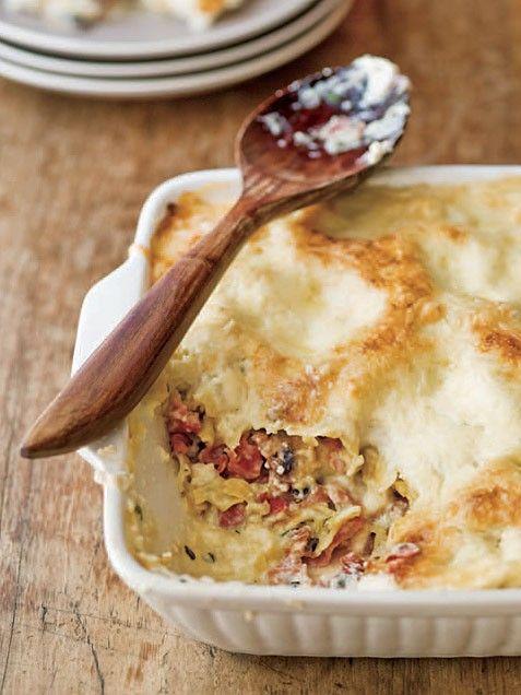 White Lasagna with Mushrooms and Prosciutto   Recipe