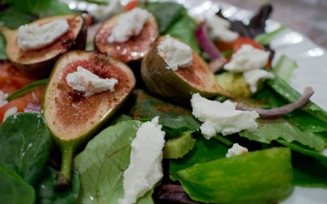 Roasted Figs in Honey and Goat Cheese Salad; also butternut squash ...
