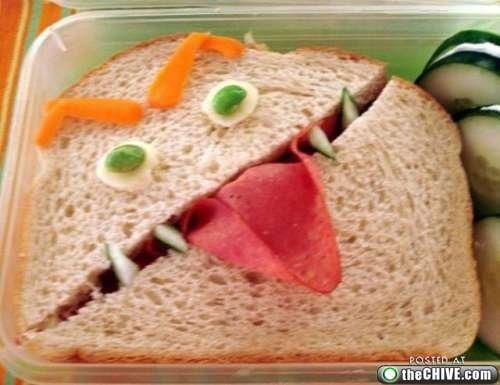 monster face sandwich... I used to make my daughters lunch everyday, wish I would have had this idea :) Funny