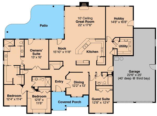 3 Bedroom Contemporary Ranch Home Plan