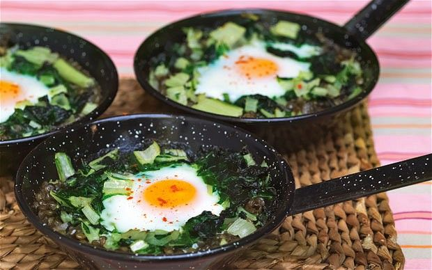 Chard with lentils, spiced lemon, turmeric butter and egg recipe