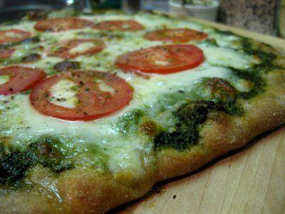 Mozzarella, Tomato and Pesto Pizza   Recipe