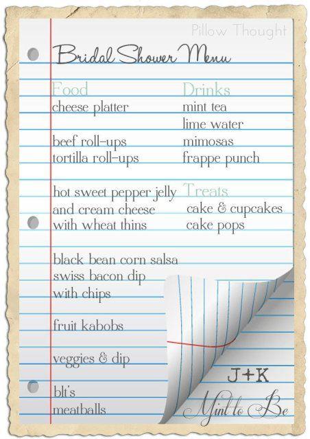 bridal shower food checklist bridal shower pinterest