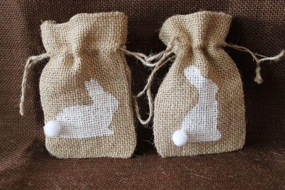Small burlap Easter Bunny bag.  Custom Party favor bag. Baby shower, birthday. Easter mini Sack. Rustic Party Favor. Custom Burlap Bag on Etsy, $1.70
