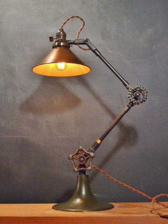 Vintage Industrial Desk Lamp - Machine Age Task Light - Cast Iron - S ...