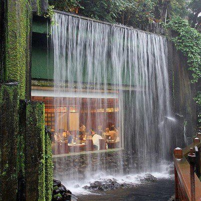 Water Fall And House Wall : Waterfall house. Water cascading over a large window. Zen. It looks ...