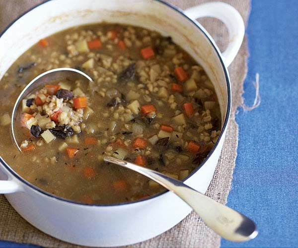 Root Vegetable & Barley Soup With Bacon Recipe — Dishmaps