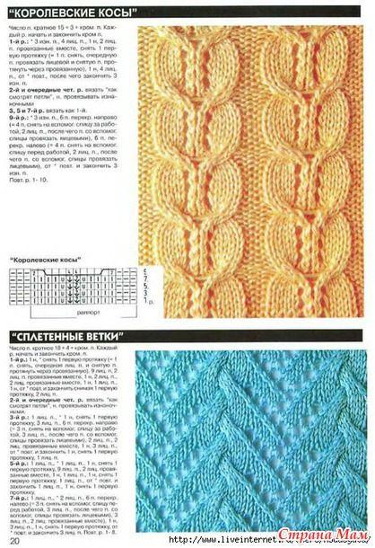 Узоры с косами для вязания на спицах с образцами 561