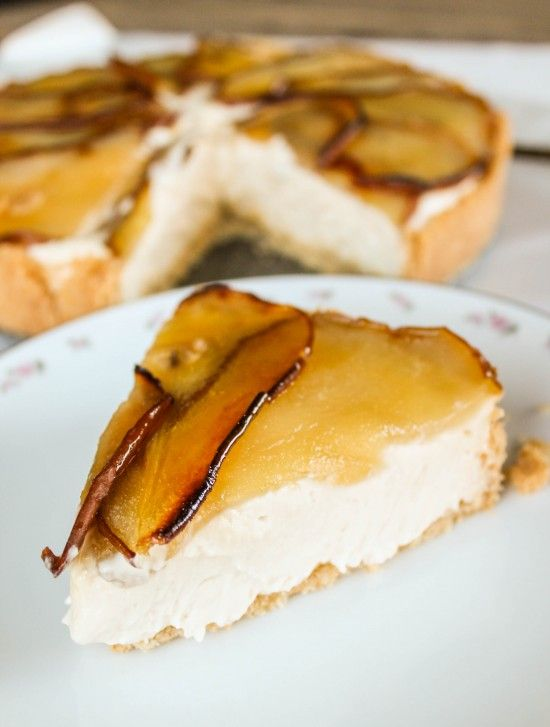 Maple Cheesecake with Roasted Pears | The Food Charlatan