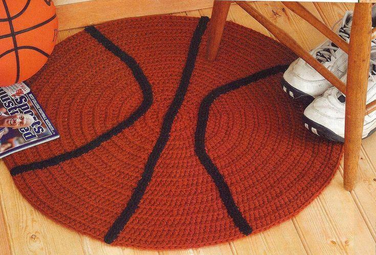 Free Crochet Football Rug Pattern : Football & basketball rugs crochet pattern