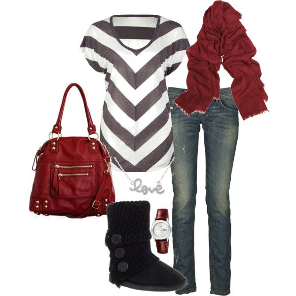 Chevron top, jeans, and sweater Uggs.  Love necklace.  Might swap the reds for something brighter.
