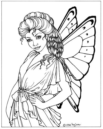 Beautiful angel coloring pages for adults coloring pages for Coloring pages of pretty fairies