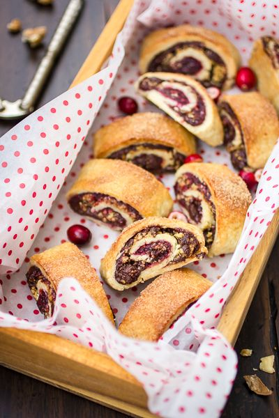 gluten-free rugelach with cranberry port jam, chocolate + walnuts