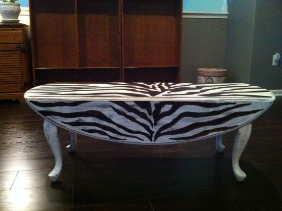 Zebra Print Queen Anne Coffee Table By ArtisticHomeTouches On Etsy
