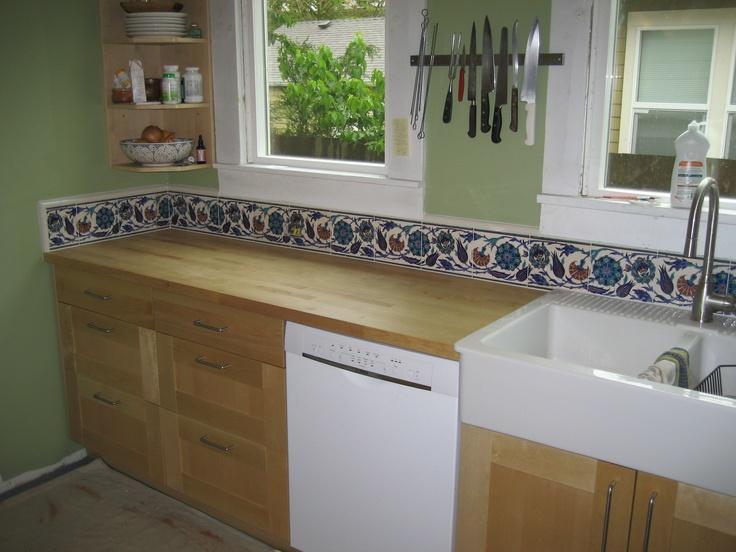 hand painted tile backsplash home pinterest