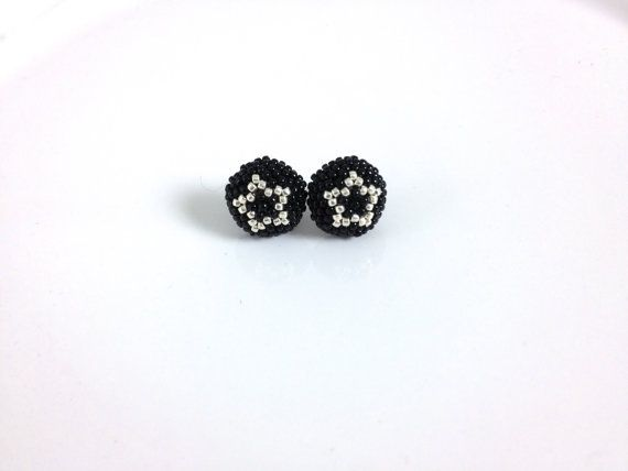 Silver Star Black Stud Earring by frompgwithlove on Etsy, $12.99
