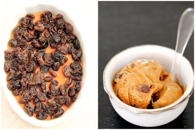 ... . By Chelle.: Roasted banana ice cream with rum soaked raisins