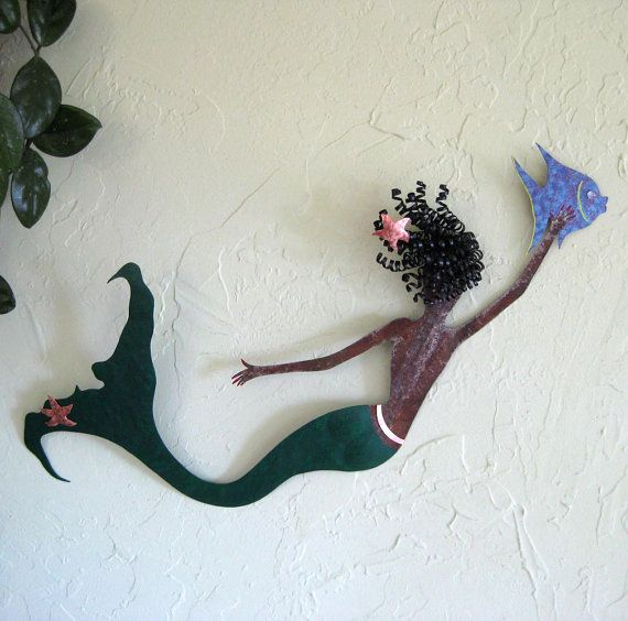 Art Sculpture Mermaid Decor Flora Handmade Upcycled