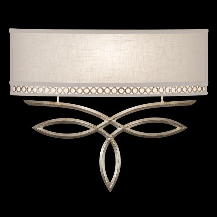 785650ST | Fine Art Lamps Sconce in a platinized silver leaf finish with subtle brown highlights and white textured linen shade