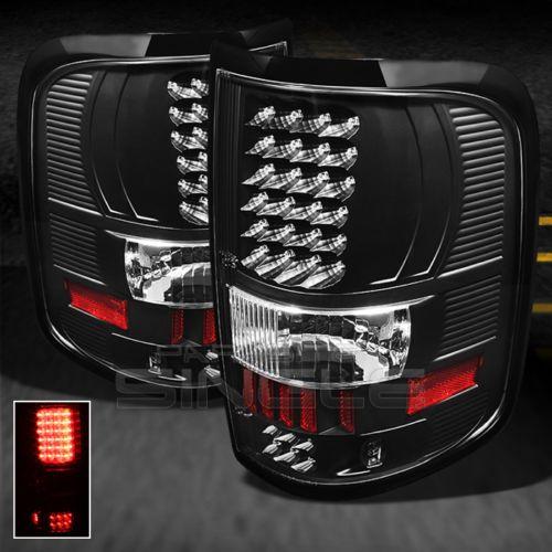 04 08 ford f150 pickup truck black led tail lights lamps. Black Bedroom Furniture Sets. Home Design Ideas