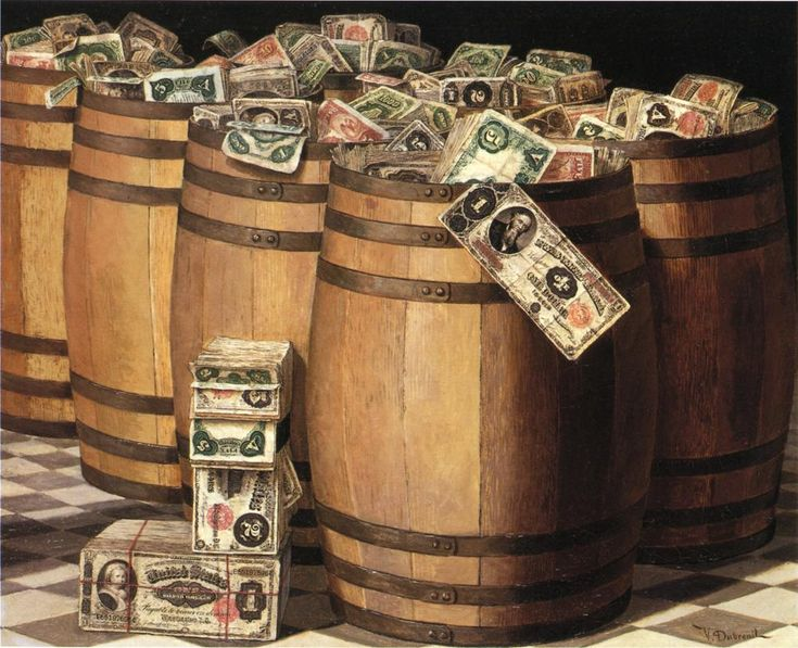 Victor Dubreuil (1846-1946) — Barrels of Money, 1897 (1001×813)
