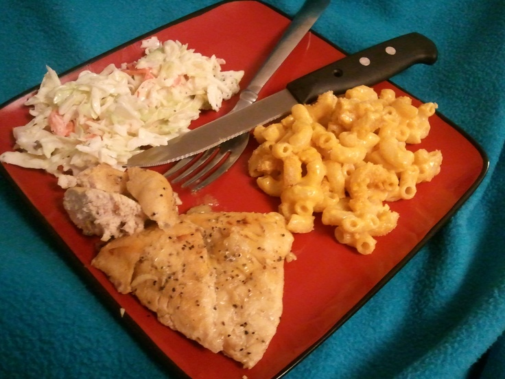 Lemon pepper baked chicken.... Oven baked mac and cheese and coleslaw ...