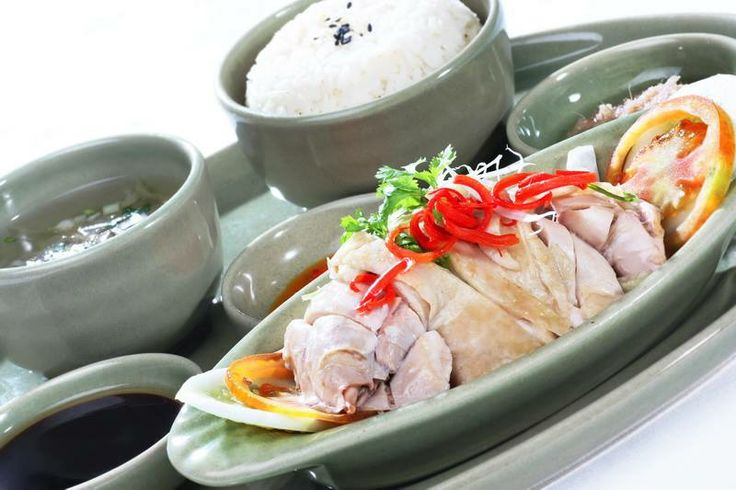 ... braised chicken served with rice, ginger chili sauce, mushroom soy and