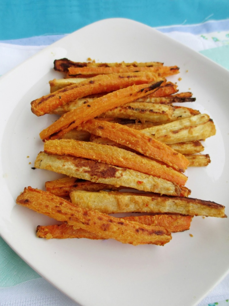 Hummus Coated Carrot and Parsnip Fries | Vegan food | Pinterest