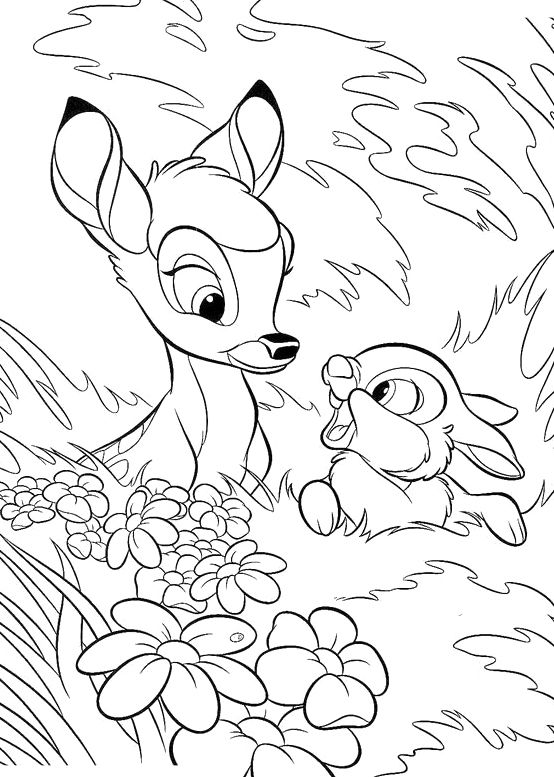 Bambi and thumper coloring coloring pages for Thumper coloring pages