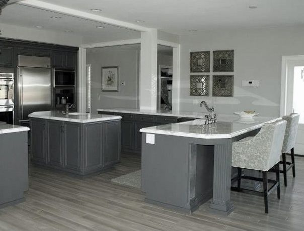 Grey Kitchen with Hardwood Floors 604 x 460