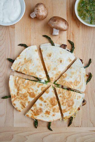 YUMMMMY: Roast Asparagus and Caramelized Mushroom Quesadillas with Goat Cheese