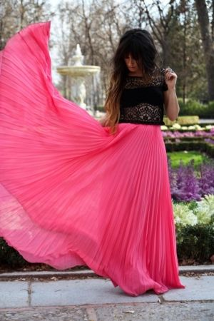 Neon Pink Pleated Maxi Skirt by Mango