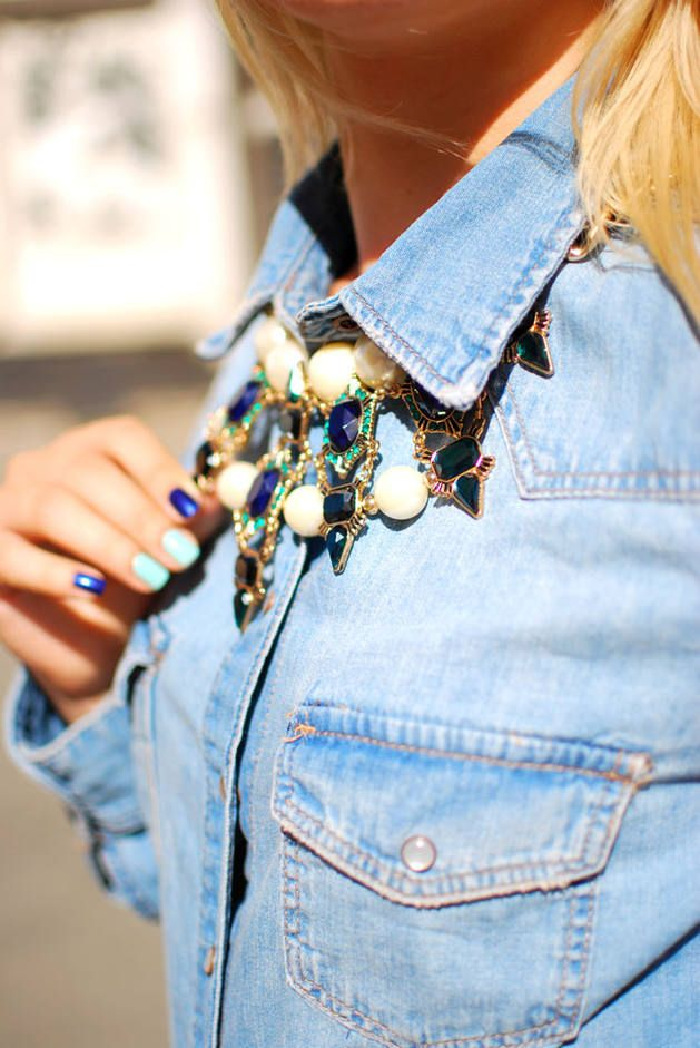 Denim and Collar Necklace