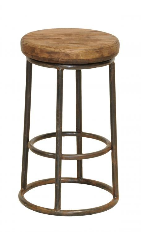 Wood And Iron Counter Stool Home Basement Man Cave