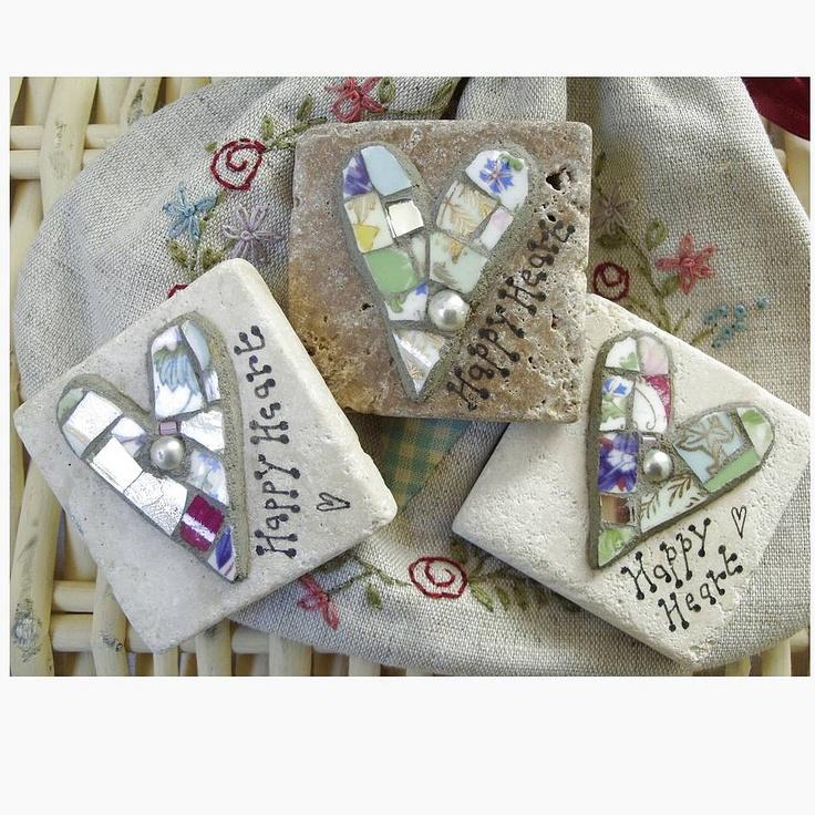 Mosaic hearts on limestone tiles