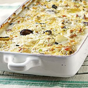 Chicken and Fennel Gratin features roasted chicken, fennel, mushrooms ...