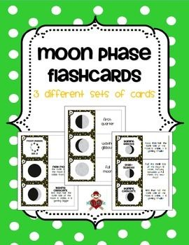 in this product are 3 different sets of flash cards for moon phases ...