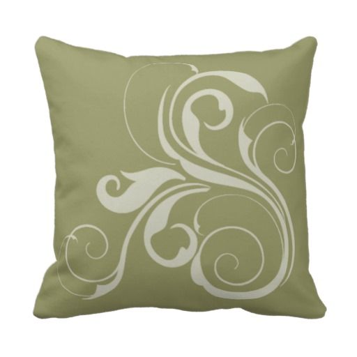 Sage Green Decorative Pillow : Sage Green and White Swirl Throw Pillow