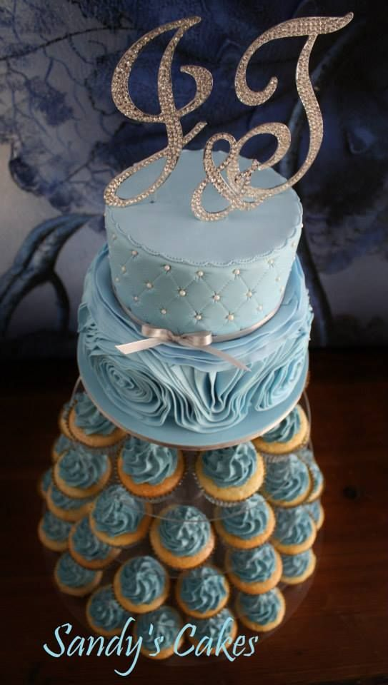 Initial ruffle cake with cupcake tower | Cakes | Pinterest